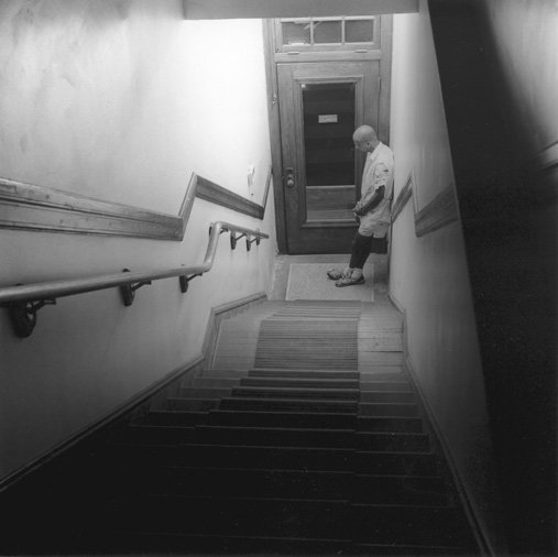 Allie, at the foot of the stairs, 1998